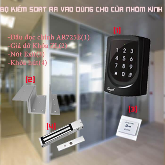 Bộ sản phẩm kiểm soát cửa ra vào cho cửa nhôm kính Soyal 725E